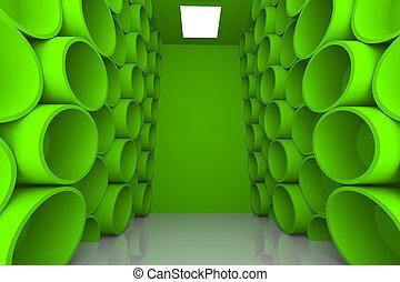 abstract sphere green room shelves