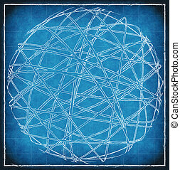 Abstract sphere on blue vintage background
