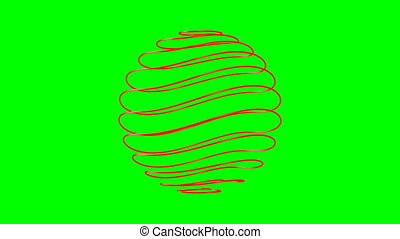abstract sphere on green background. Isolated 3D render