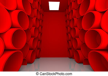 abstract sphere red room shelves