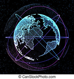 Abstract sphere shape of glowing circles global communication orbits . Global Network connection visualization . Futuristic earth globe . Science and technology background. 3d illustration.