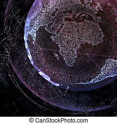 Abstract sphere shape of glowing global communication. Global Network connection visualization . Futuristic earth globe . Science and technology background. 3d illustration.