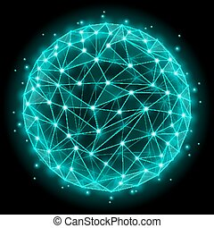 Abstract sphere with wireframe mesh polygonal elements. Vector illustration