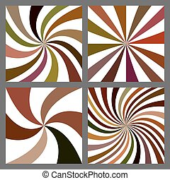 Abstract spiral and starburst background set