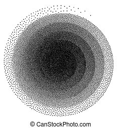 Abstract spiral background. Black and white halftone stipple dots pattern