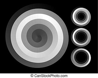 Abstract spiral background. Black and white halftone vector