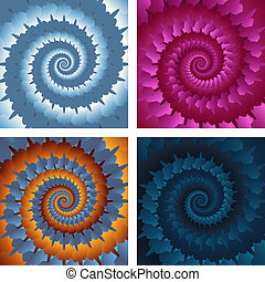 Abstract spiral background set. Vector eps10