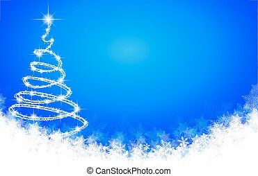 Abstract spiral Christmas tree on the background of snowflakes