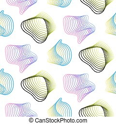 Abstract spiral lines vector seamless pattern.