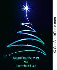 Abstract spiral neon christmas tree