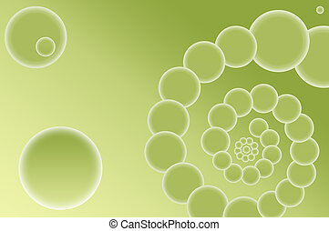 Abstract spiral on a green background