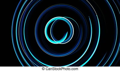 Abstract spiral rotating glow lines, computer generated...