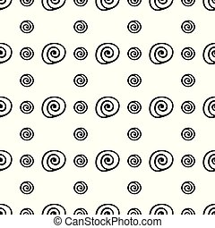 Abstract spiral shells fashion flat seamless vector pattern. Simplified retro illustration. Wrapping scrapbook paper background. Minimalistic style doodle. Element design, wallpaper, fabric printing.