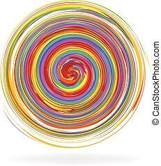 Abstract spiral waves rainbow logo
