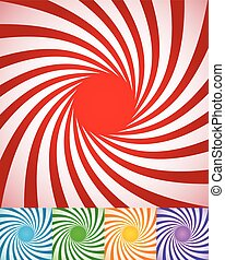 Abstract spirally backgrounds, twisted, rotating radial lines.