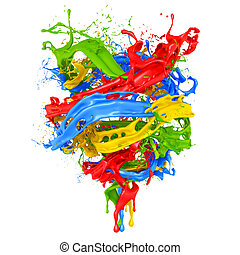Abstract splash paint isolated white background. 3d illustration, 3d rendering.