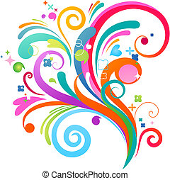 Colourful abstract splashing pattern with many design elements