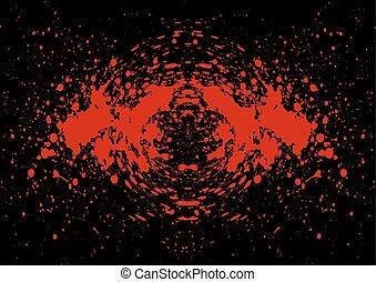 Abstract splatter blood on black color background