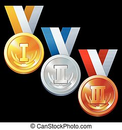 Abstract Sport Award - Round Gold, Silver and Bronze Medal...
