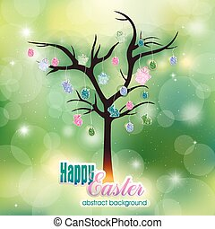 Abstract spring background and Easter tree