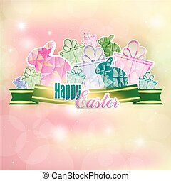 Abstract spring background with Easter bunnies