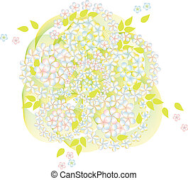 abstract spring background with flowers on white