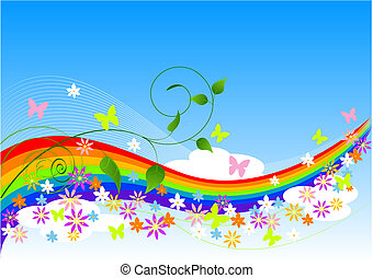 Abstract Spring Background with rainbow, flowers and ...