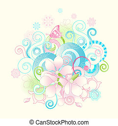 Abstract spring flowers and scrolls