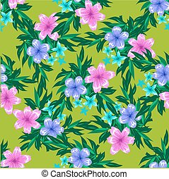 Abstract Spring Seamless pattern with floral green background