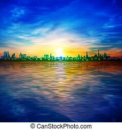 abstract spring sunrise background with blue sky and silhouette of city