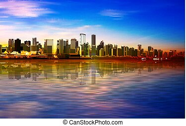 abstract spring sunset background with blue sky and panorama of Vancouver