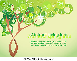 Abstract spring tree with flowers