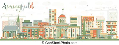 Abstract Springfield Skyline with Color Buildings.