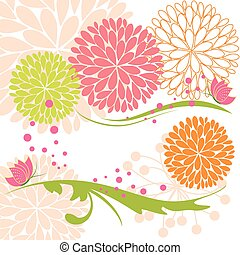 Abstract springtime colorful daisy flower and butterfly