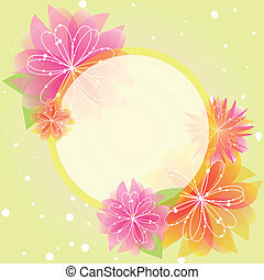 Abstract springtime flower greeting card on green yellow...