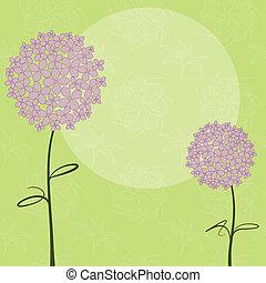 Abstract springtime purple pink Hydrangea flower on green seamless pattern background