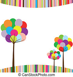 Abstract springtime rainbow color tree on colorful stripe ...