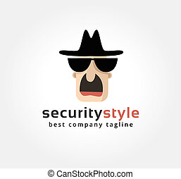 Abstract spy face vector logo icon concept. Logotype template for branding and corporate design