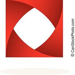 abstract Square box emblem logo icon template design vector illustration