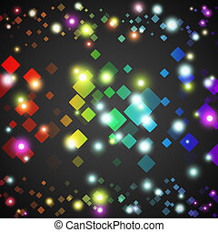 Abstract square glowing circles with lights and dark background