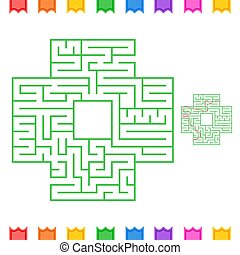 Abstract square isolated labyrinth. Green color on a white background. An interesting game for children and adults. Simple flat vector illustration. With the answer.