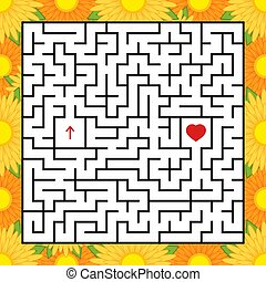 Abstract square maze. An interesting and useful game for children. Find the path from arrow to heart. Simple flat vector illustration isolated on white background. With a bright floral frame.