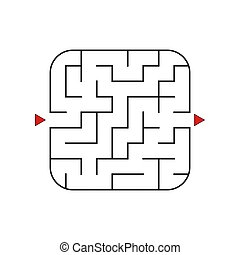 Easy baby maze for younger kids with a solution in black and