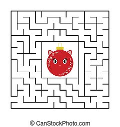 Abstract square maze with a cute color cartoon character. Cute Christmas balls. An interesting and useful game for children. Simple flat vector illustration isolated on white background.