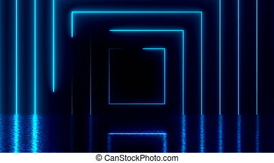 Abstract square neon tunnel with reflection, computer...
