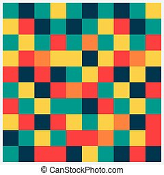 Abstract square pattern in yellow, red, green colors