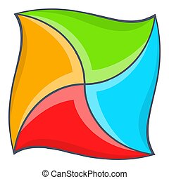 Abstract square shape icon, cartoon style
