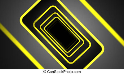 """""""Abstract square tunnel with yellow frame of doorway and rotating camera. """""""