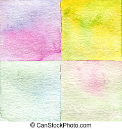 Abstract  square watercolor painted background