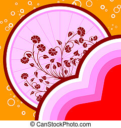 abstract St. Valentine card with flowers and circles